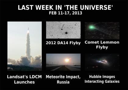 The Universe normally does an overview of 'space news' each month. But after the events of last week, we thought it would be a good idea to re-cap!  This is a selection of breaking news stories, all covered by The Universe, from February 11-17, 2013.